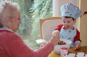 My eldest boy, Scott (age2), baking with his now deceased Great Grandmother.